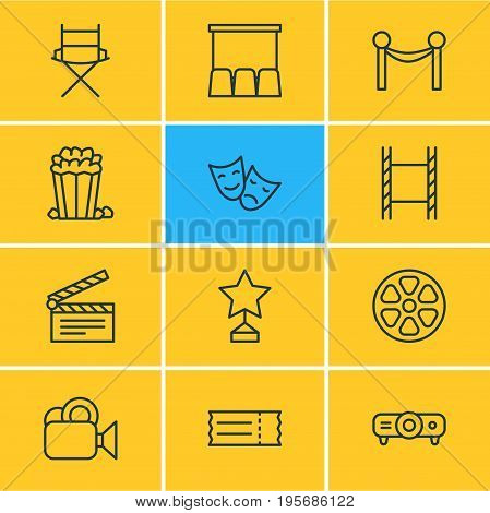 Vector Illustration Of 12 Film Icons. Editable Pack Of Cinema Fence, Snack, Hall And Other Elements.