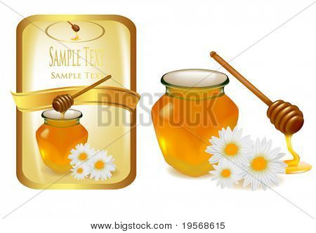 Background with honey and wood stick and label. Vector illustration.