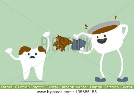 dental cartoon vector - tooth problem - coffee makes your teeth yellow