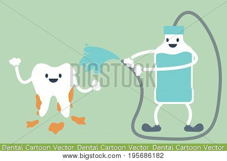 dental cartoon vector - teeth cleaning by mouthwash