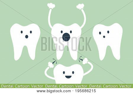 dental cartoon vector - teeth be pained because wisdom tooth
