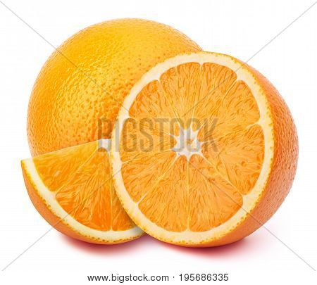 Perfectly retouched orange with half slices isolated on white background with clipping path