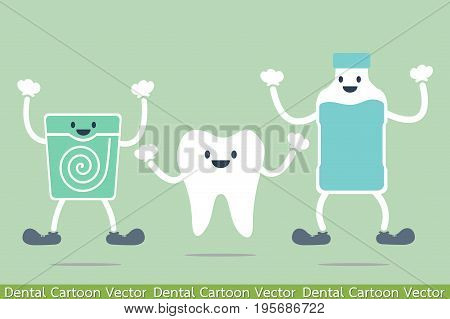 dental cartoon vector - tooth best friend - mouthwash and dental floss