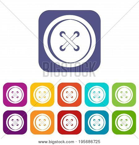 Plastic button icons set vector illustration in flat style In colors red, blue, green and other