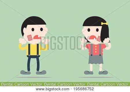 dental cartoon vector - boy and girl are toothache