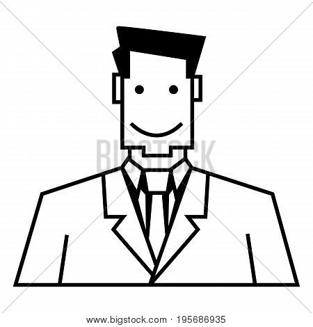 Vector Outline Icon - Businessman In Suit