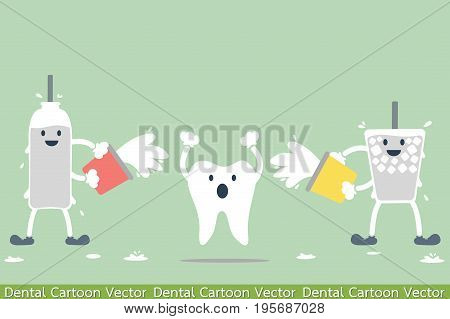 dental cartoon vector - tooth problem - hypersensitive teeth from cold water