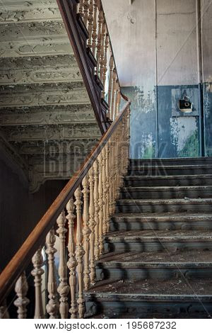 Old Stairs In Abandoned Building