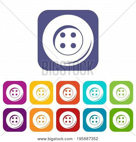 Button for sewing icons set vector illustration in flat style In colors red, blue, green and other