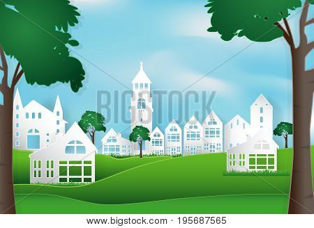 Spring season with blue sky peaceful and relaxing in city town background paper art style illustration.