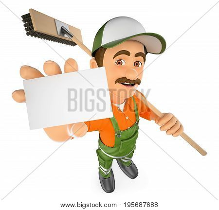 3d working people illustration. Street sweeper with a blank card. Isolated white background.