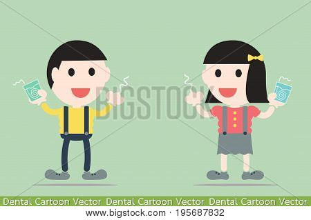 dental cartoon vector - boy and girl are cleaning teeth by dental floss