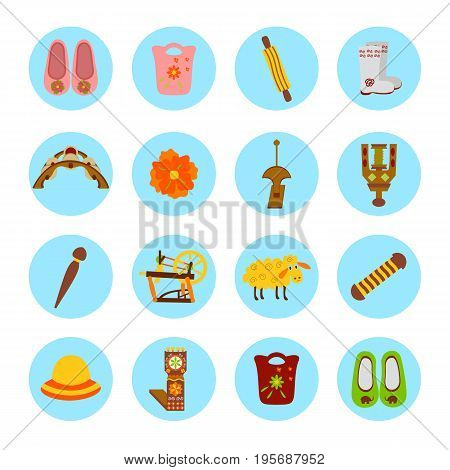 Set of colorful stickers of handmade. Vector illustration of felted goods in circle.