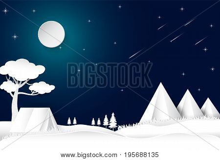Camping on hill night sky with star and comet landscape background paper art style illustration