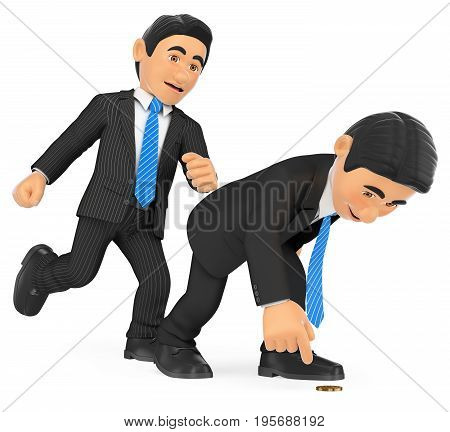 3d business people illustration. Businessman giving a kick in to another who is crouched. Isolated white background.