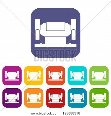 Metalworking machine icons set vector illustration in flat style In colors red, blue, green and other