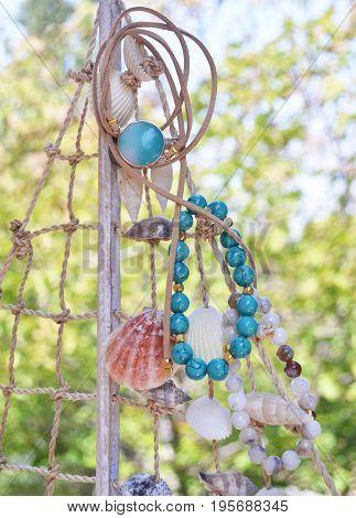 semi precious stones jewelry - turquoise agate bracelets - greek jewelry