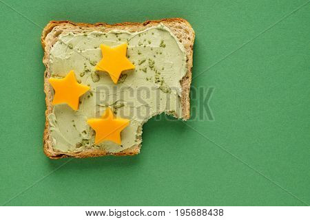 sandwich with cream cheese and star cheese