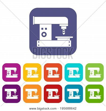 Drilling machine icons set vector illustration in flat style In colors red, blue, green and other