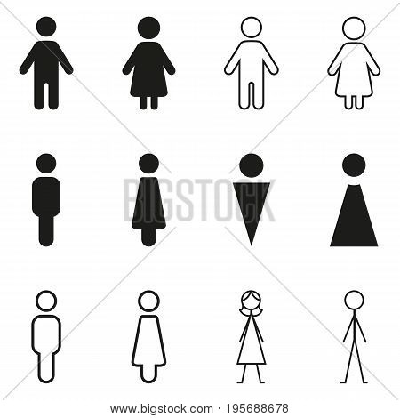 Vector Set Of Gender Icons. Wc Pictograms.