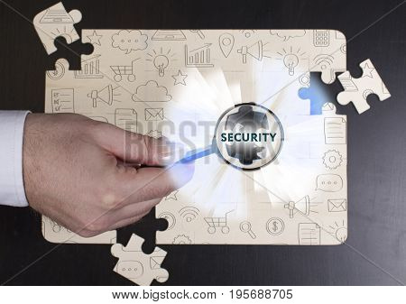 Business, Technology, Internet And Network Concept. Young Businessman Shows The Word: Security