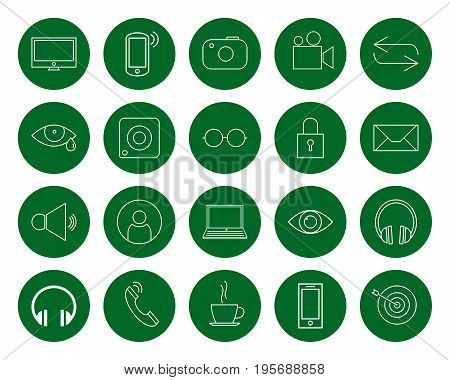 Multimedia for the user a set of twenty vector monochrome round line icons color change in one click flat style