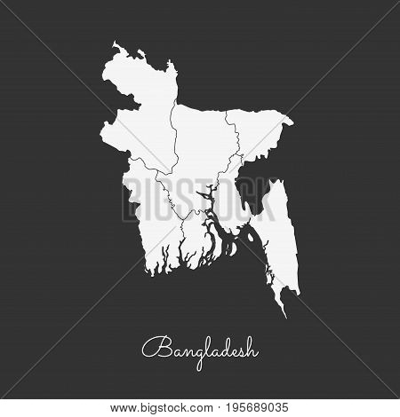 Bangladesh Region Map: White Outline On Grey Background. Detailed Map Of Bangladesh Regions. Vector