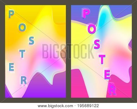 Poster with neon geometric pattern. Holographic colorful graphic backgrounds. Retro banner, flyer, leaflet, poster. Vector template