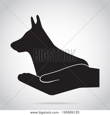 Dog and hand icon. Protection care and help concept
