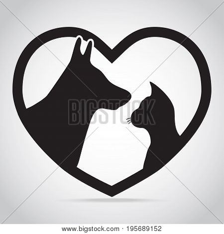Dog and Cat with heart icon. Protection care and help concept