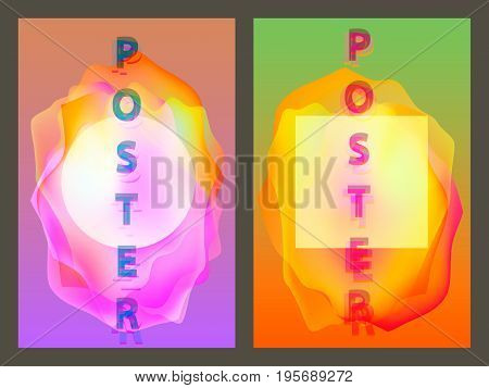 Poster with neon flat geometric pattern. Holographic colorful graphic backgrounds. Retro banner, flyer, leaflet, poster. Vector template
