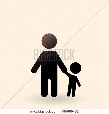 Vector Black Silhouette Icon - Father And Kid