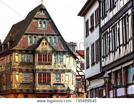 Historic medieval houses in picturesque little town Miltenberg, by the Odenwald forest and the river Main, Germany