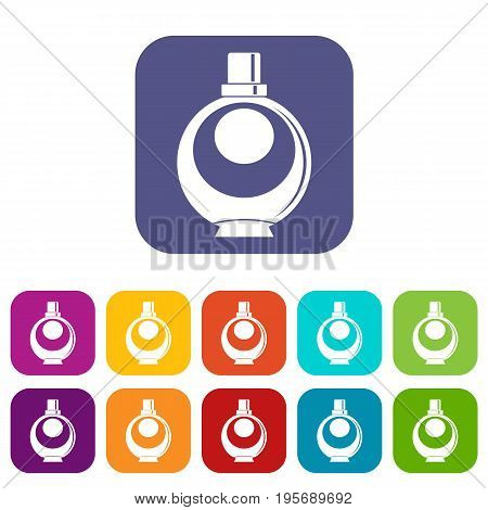 Elegant woman perfume round glass icons set vector illustration in flat style In colors red, blue, green and other