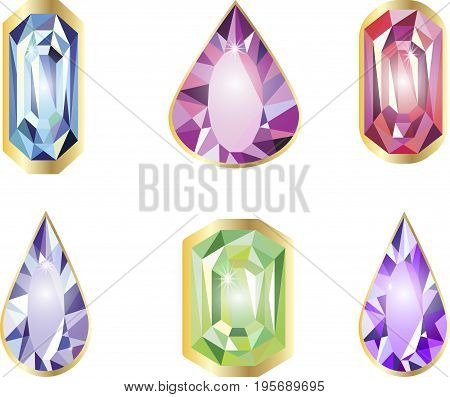 Diamond stones set in gold frame precious, shape, crystal, ruby