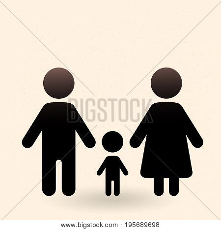 Vector Black Silhouette Family Icon - Parents And Child