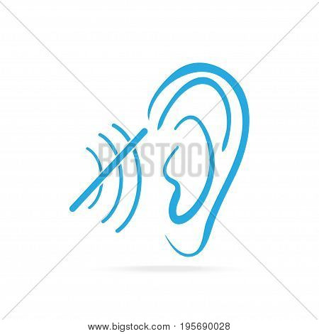 Disability to hear blue icon Deaf icon Hearing and ear icon