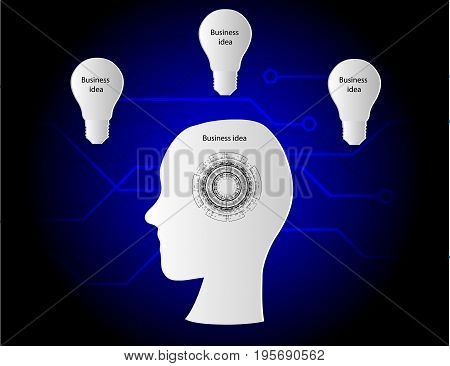 business idea infograph three lightbulb and electronic board background