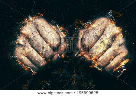 Two fists in flame fire illustration. Fight concept.