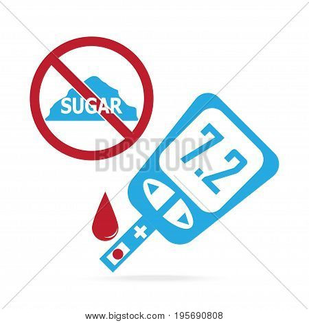 Diabetes blue icon blood drop to glucose test. Medical sign
