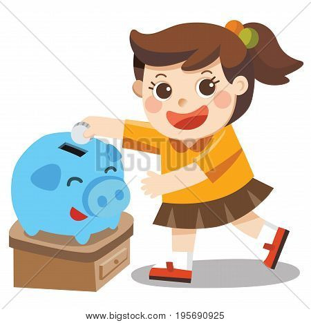 A Little girl happy to saving money in blue piggy bank. Isolated vector
