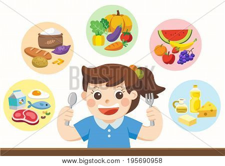 Isolated vector. A cute girl with The five food group. Let's get something to eat!