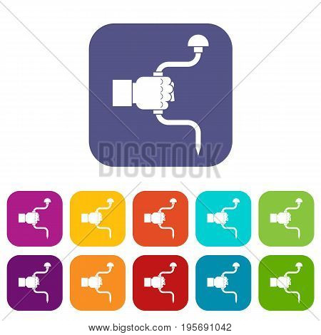 Vintage hand drill in man hand icons set vector illustration in flat style In colors red, blue, green and other