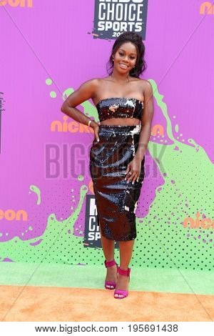 LOS ANGELES - July 13:   Gabby Douglas at the Nickelodeon Kids' Choice Sports Awards 2017 at the Pauley Pavilion on July 13, 2017 in Westwood, CA