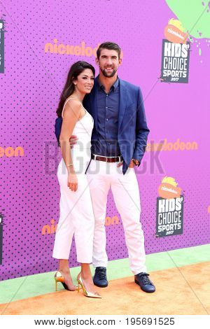 LOS ANGELES - July 13:  Nicole Johnson, Michael Phelps at the Nickelodeon Kids' Choice Sports Awards 2017 at the Pauley Pavilion on July 13, 2017 in Westwood, CA
