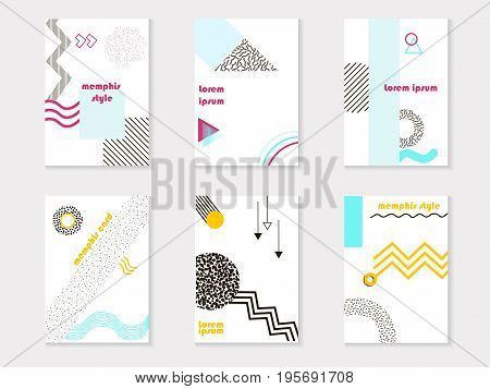 Colorful Trend Set Of Memphis Style Cards, Geometric Poster Set Juxtaposed With Colored Blocks And P