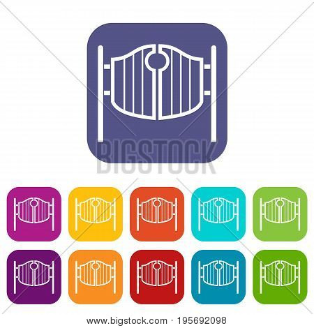 Vintage western swinging saloon doors icons set vector illustration in flat style In colors red, blue, green and other