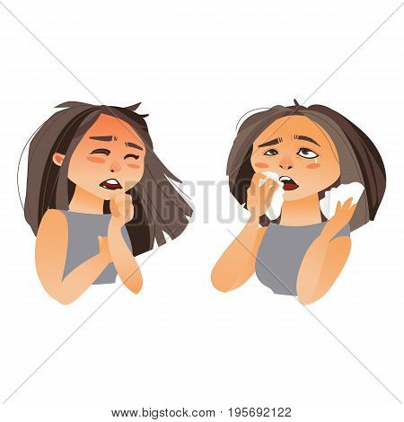 Woman having flu symptoms - cough and runny nose, cartoon vector illustration isolated on white background. Half length portrait of girl, woman coughing, wiping her nose with paper tissues
