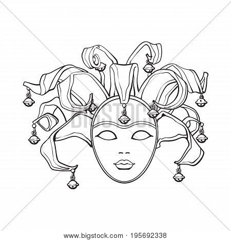 Decorated Venetian carnival, jester mask with bells and glitter, sketch style vector illustration isolated on white background. Realistic hand drawing of carnival, Venetian mask with bells