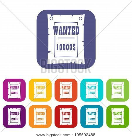 Vintage wanted poster icons set vector illustration in flat style In colors red, blue, green and other